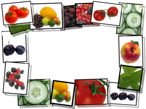 Film frames with fresh healthy food images, border on white b