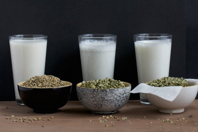 Конопляное молочко Home-made hemp milk with whole seeds and shelled seeds; milk is still being filtered